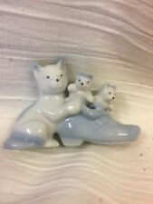 Porcelain Mama Cat And Kittens In Blue Shoe Made In Japan Vintage Figurine