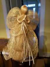 """Vintage Straw Grass and Ribbon Angel Christmas Tree Topper 13"""""""