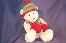 "Tan Bear Hat  Mittens Vest Holiday Christmas Plush 18"" Stuffed Animal Lovey Toy"