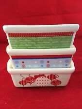 """3 Gibson Holiday 6"""" Mini Loaf Pans Stoneware Ornaments Merry Christmas Snowflake"""