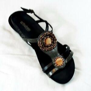Vionics Orthaheel Wedge Sandal KELLY Women's Size 9 / 40 Brown Embellished