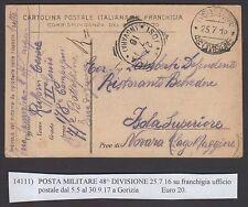 POSTA MILITARE 1916 Franchigia da PM 48° Divisione a Isola Superiore (FIY)
