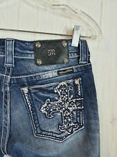 "Miss Me Capri Jeans Size 26 Embellished Silver Cropped Cross Waist 28"" Crystals"