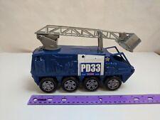 "Police Fire Truck Blue w/ Ladder, 8 Wheels 9"" Long Plastic Toy Vehicle"