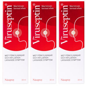 3 x Viruseptin Cold Nasal Nose Spray 20 ml Swedish Pharmacy (60 ml total)