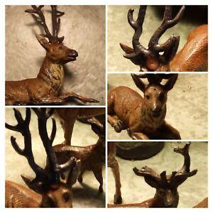 🐀 ViNTAGE(4) Lead 🦌 Deer*Doe Christmas Figures German FABULOUS 4 Four for U