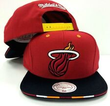 Miami Heat Mitchell & Ness NBA Super Stripe Snapback Red Adjustable Cap Hat