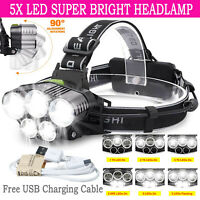10000LM 5X T6 LED Headlamp Rechargeable Headlight 18650 Flashlight Head Torch