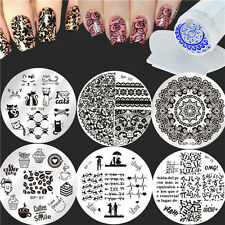 8Pcs Nail Art Stamping Plates Lace Animal Stamp Template W/Stamper Scraper Set