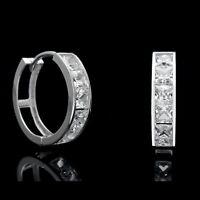 3.00 CT Princess Created Diamond Huggie Hoop Earrings Solid 14K White Gold VVS1