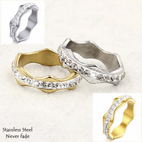 Stainless Steel Wave Eternity Ring with Swarovski Crystals Silver Yellow Gold