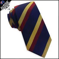 Navy Blue with Red & Yellow Stripes Slim Dark Tie