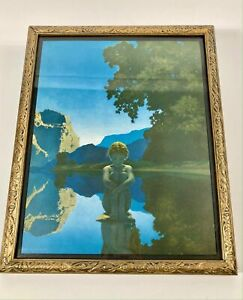 "Antique MAXFIELD PARRISH ""Evening"" Original Print and Frame"
