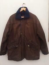Great Vtg Mens Warm Austin Reed Brown Nubuck Leather Fleece Jacket Coat M Medium