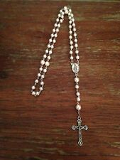 Antique Vintage Catholic Rosary Beads, Vintage Pink Pearls, Handmade