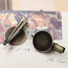 20PCS Antiqued Bronze 18mm Round Blank Settings Hair Clips #22734
