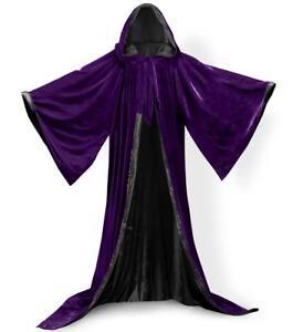 Long Sleeve Velvet Hooded Cloak Purple Cape Hooded Cloak Wizard Robes Costumes