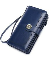 NEW IN BOX Women's Wallet Large Capacity Genuine Leather by SENDEFN (Deep Blue)