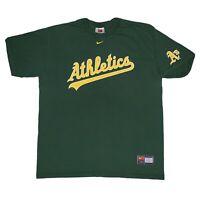 Vintage Nike Team T Shirt Oakland Athletics A's Mens Large Script Logo White Tag