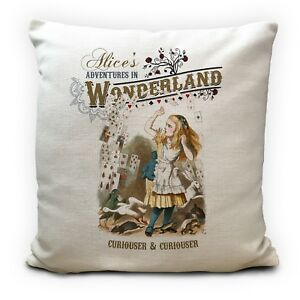 ALICE IN WONDERLAND Cushion Cover Curiouser and Curiouser Quote 40 cm 16Inch