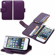 Leather Wallet Cover Case with for Apple iPhone 5, 5s