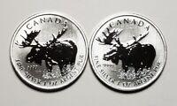 2 x 2012 Canada $5.00 1 oz Silver Maple Leaf .9999 Moose