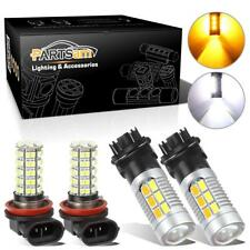 2Sets 3157 White Amber LED Turn Signal Light H9 H11 Fog Driving Light Bulbs Pack
