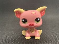 Littlest Pet Shop LPS Authentic 1858 Pink Yellow Blythe Flower Green Dot Eyes