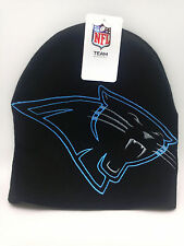 """Carolina Panthers Hat """"LOGO HYPE"""" Style--Black Embroidered Knit Beanie"""