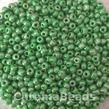 50g glass seed beads - Green Opaque Lustered - approx 3mm (size 8/0)