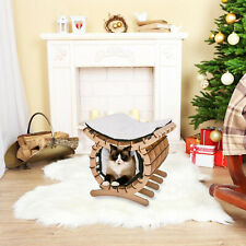 Small Medium Cat Bed House Cave Pet Home Mdf W/ Soft Warm Mat Blanket 2 Layer