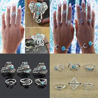Fashion Women Boho Bohemian Retro Carved Silver Elephant Lucky Ring Jewelry Set