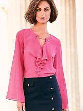 Kaleidoscope Size 10 Versatile Pink Frill Detail Chiffon Blouse TOP Stylish Fab