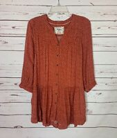 Holding Horses Anthropologie Women's XS Extra Small Rust Pocket Spring Tunic Top
