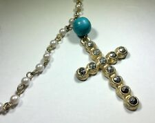 Vivi Cookie Lee Necklace Cross Pendant Fashion Pearls Gold Tone 18 Inch