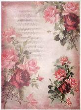 Papel De Arroz-Rosas Rojas En Rosa backgroun-Para Decoupage Scrapbooking Hoja Craft