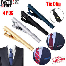 4pcs Mens Stainless Steel Tie Clip Necktie Bar Clasp Clamp Pin Gold Black Silver