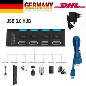 4 Ports 3.0 USB Hub Aktiv Mit Schalter Netzteil und Kabel für Laptop PC Schwarz