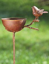 Vogeltränke zum Stecken, Rost H: 117cm Vogelbad Metall Vogel Gartenstecker