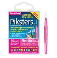 Piksters Interdental Brush 40 Pack Size 00 Pink Handle Floss Teeth Cleaning