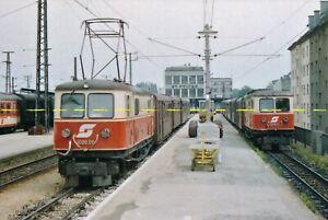 Farb-Foto ÖBB Schmalspur E-Loks 1099.06 + 02 St. Pölten 1984