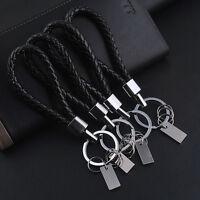 Fashion Men's Black Leather Metal Car Keyring Keychain Key Chain Keyfob Gift