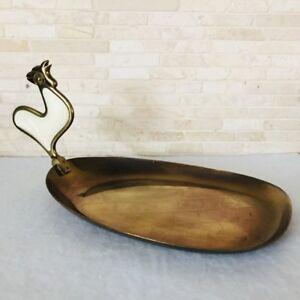 Grasoli Carl Mertens Messing Tablett Schale plastischer Hahn 50er 60er Design