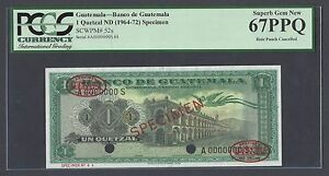 Guatemala One Quetzal ND(1964-1972) P52s Specimen TDLR  Uncirculated  Grade 67