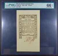 1786 Rhode Island 9-pence Colonial Note, RI-291, PMG Gem Unc-66 EPQ.