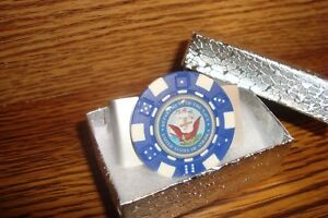 """Department of the Navy Money Clip Design Aluminum Poker Chip 1"""" Dome image  Blue"""