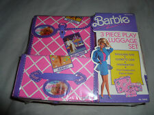 NEW BARBIE 3 PIECE PLAY LUGGAGE SET SHOULDER TOTE COSMETIC CASE 1991 MATTEL NIP