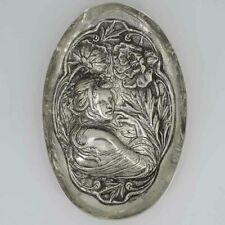 Oval Art Nouveau Silver Bowl With Figurative Representation And Floral Decor