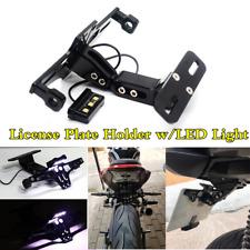 Adjustable LED Motorcycle License Plate Frame Cover CNC Aluminum Bracket Black