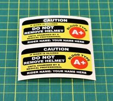 2x Custom Rider Safety Helmet Stickers - Add Your Name and Blood Type